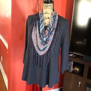 🔥ONE WORLD DARK BLUE Blouse /sweater with scarf🔥